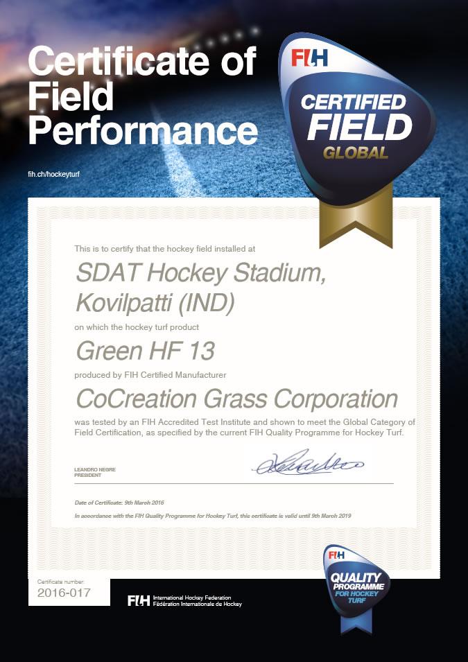 FIH Field Certificate