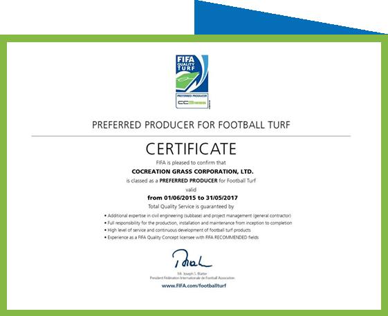 CCGrass certificado del productor preferido por la FIFA