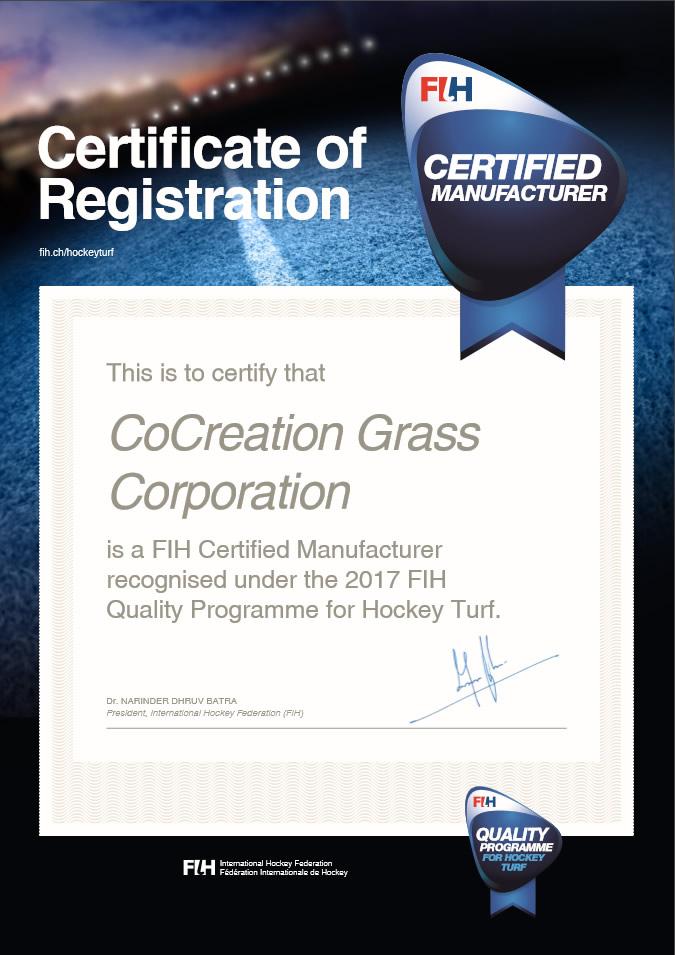FIH Company Certificate