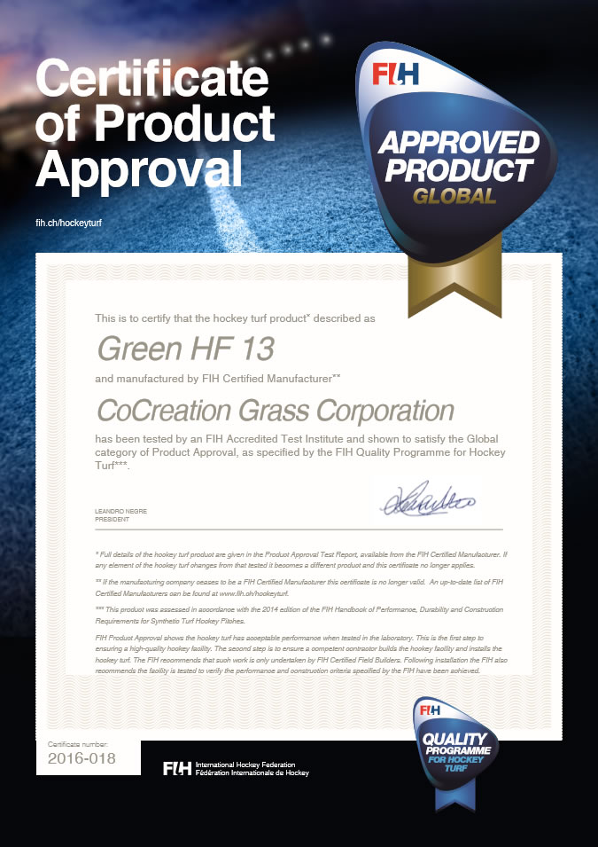 FIH Golbal Level Product Certificae