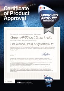 FIH National Level Product Certificate ccgrass artificial grass manufacturer FIH Preferred Supplier