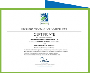CCGrass certificate of FIFA Preferred producer