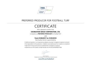 CCGrass FIFA Preferred Producer FIFA pro Certified Field