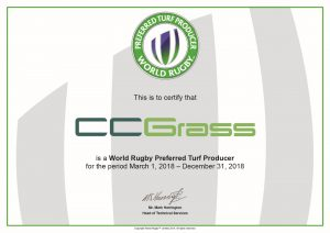 CCGrass certificate of World Rugby Preferred Turf Producer