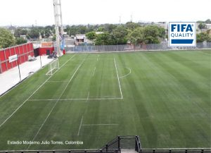 CCGrass artificial grass factory FIFA quality football field Estadio Moderno Julio Torres Colombia