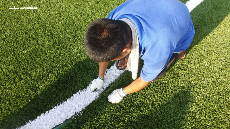 How to paint the white line on the artificial football field