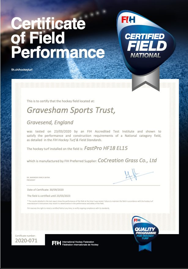 CCGrass, Gravesham Sports Trust, England, FIH National certificate