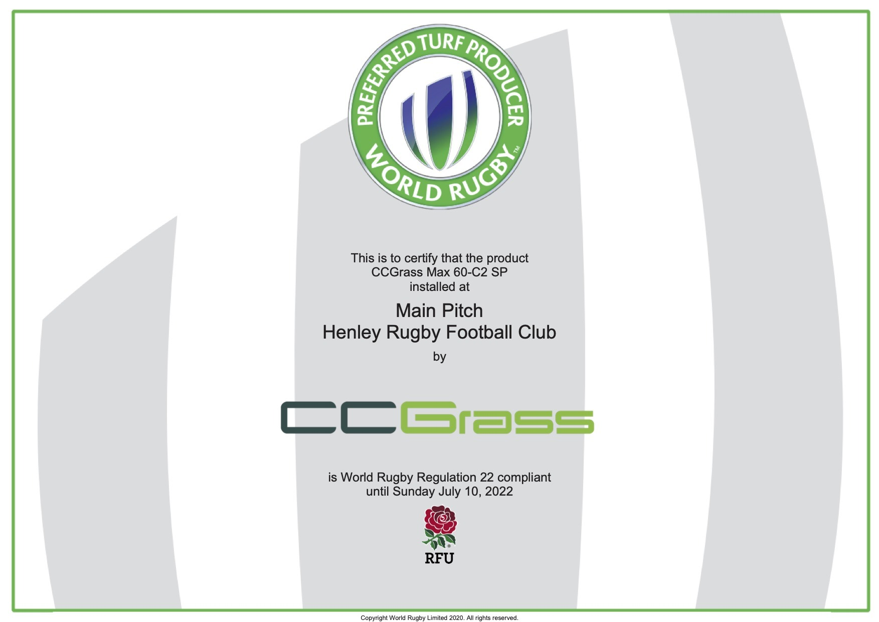 CCGrass, Henley Rugby Football Club, World Rugby certified pitch