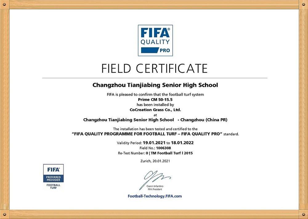 CCGrass, Changzhou Tianjiabing Senior High School, FIFA certificate