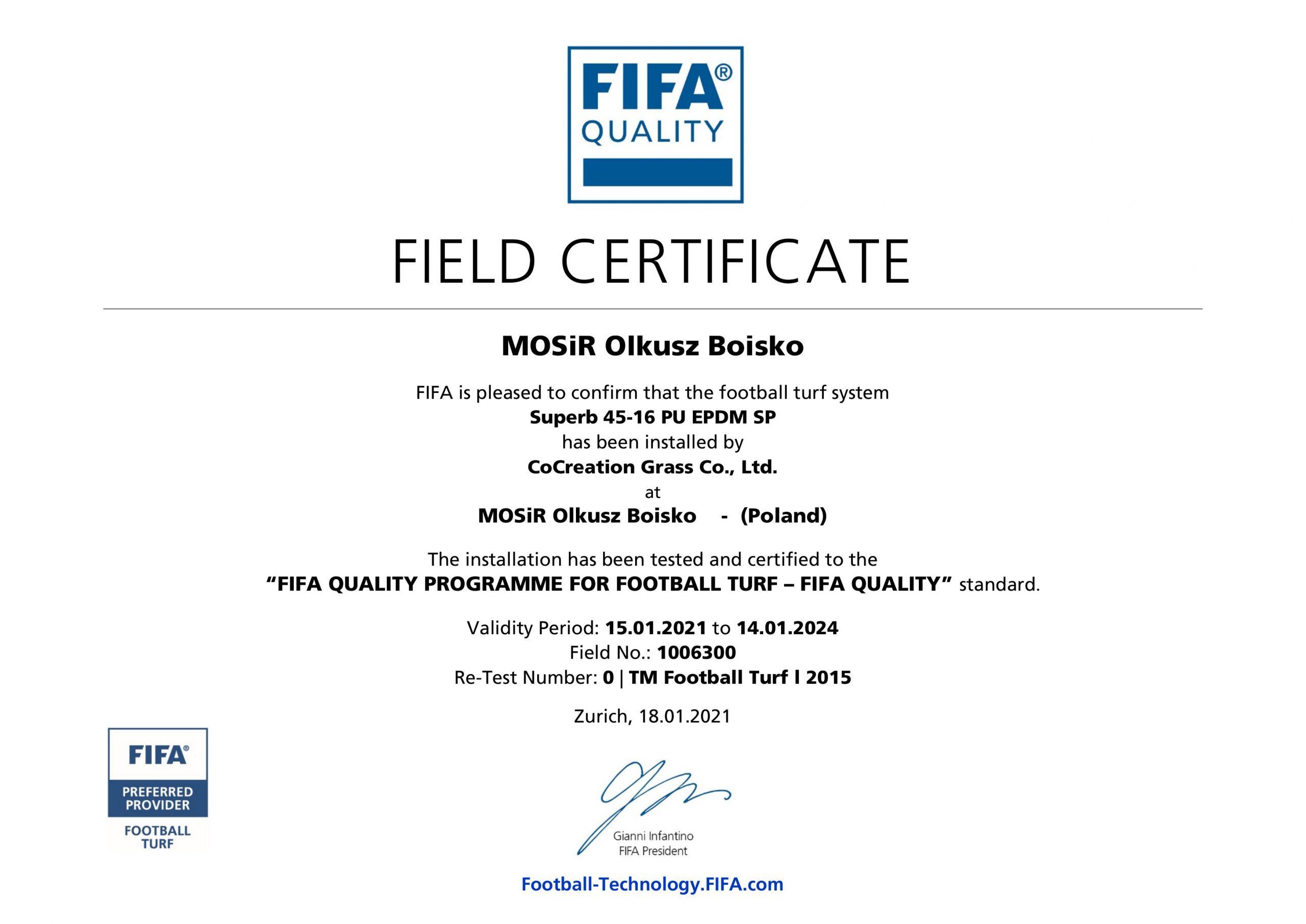 MOSiR Olkusz Boisko Certification