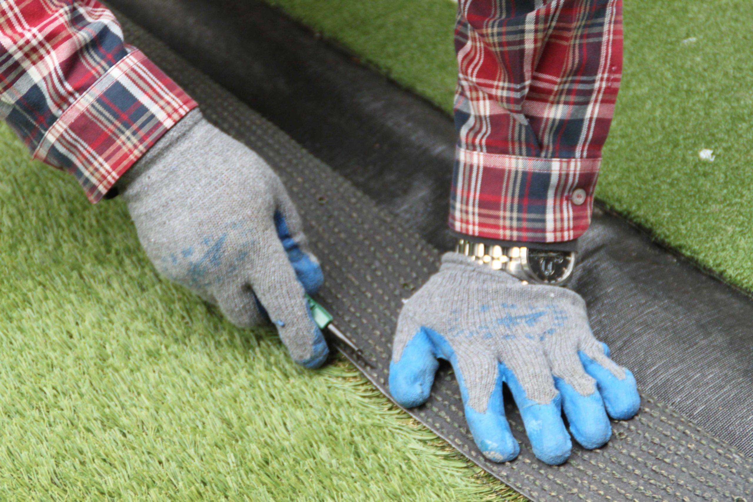 CCGrass, artificial grass installation, cut edges