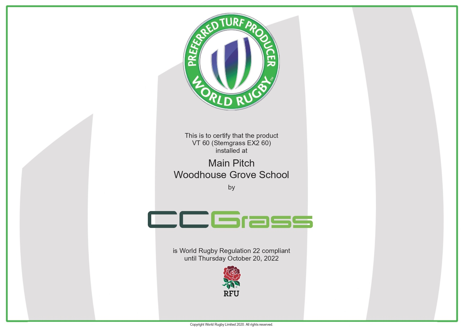 CCGrass, Woodhouse Grove School, World Rugby certification