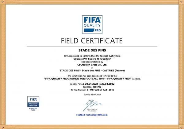 Stade des Pins Field certificated