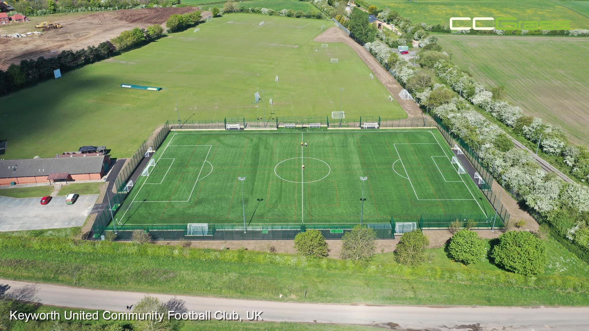 CCGrass, football pitch, Keyworth United Community Football Club, UK
