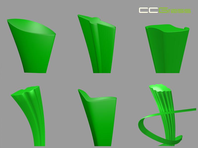 CCGrass, artificial grass yarn shapes